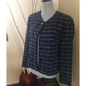Talbots tweed blazer royal blue and black size 8